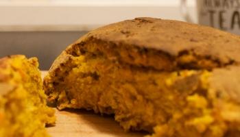 Cut loaf of pumpkin bread (Kürbisbrot)