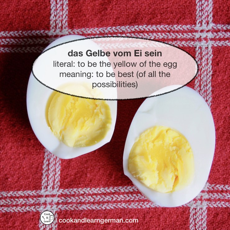 """2 halves of an egg, """"Das Gelbe vom Ei sein"""" literal: to be the yellow of the egg, meaning: to be best (of all the possibilities)"""