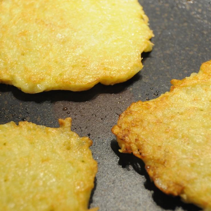German potato pancakes (Kartoffelpuffer) in a pan