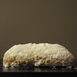 Loaf of almond stollen (Mandelstollen)