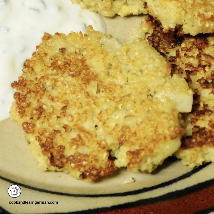 millet and parsnip burgers on a plate