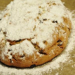 Loaf of German quark stollen (Quarkstollen) a variety of German christmas stollen a sweet bread/cake
