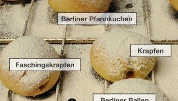 Filled donuts and German regional names for them: Berliner, Pfannkuchen, Berliner Pfannkuchen, Krapfen, Faschingskrapfen, Berliner Ballen