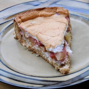 slice of rhubarb and meringue cake