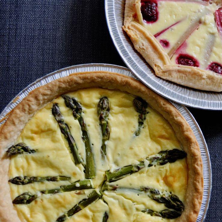 savoury (asparagus) and sweet (rhubarb and raspberry) cream cheese tarts