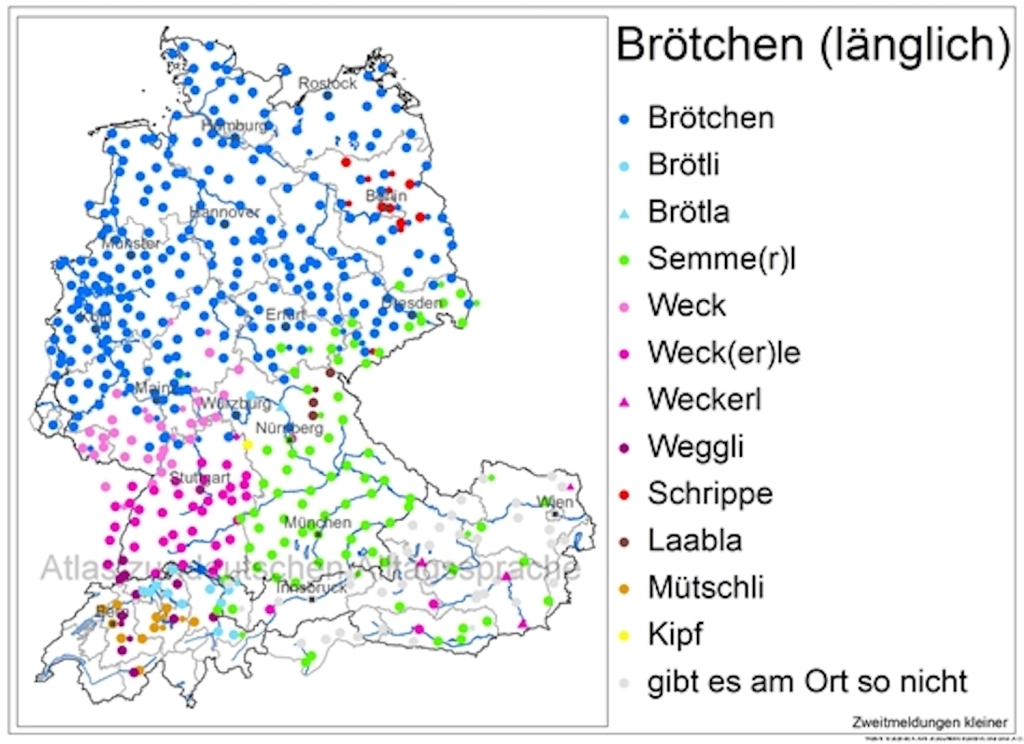 """map of Germany, Austria and Switzerland showing different names for bread rolls from """"Brötchen"""" in the north to """"Semmel"""" and """"Weckerle"""" in the south"""