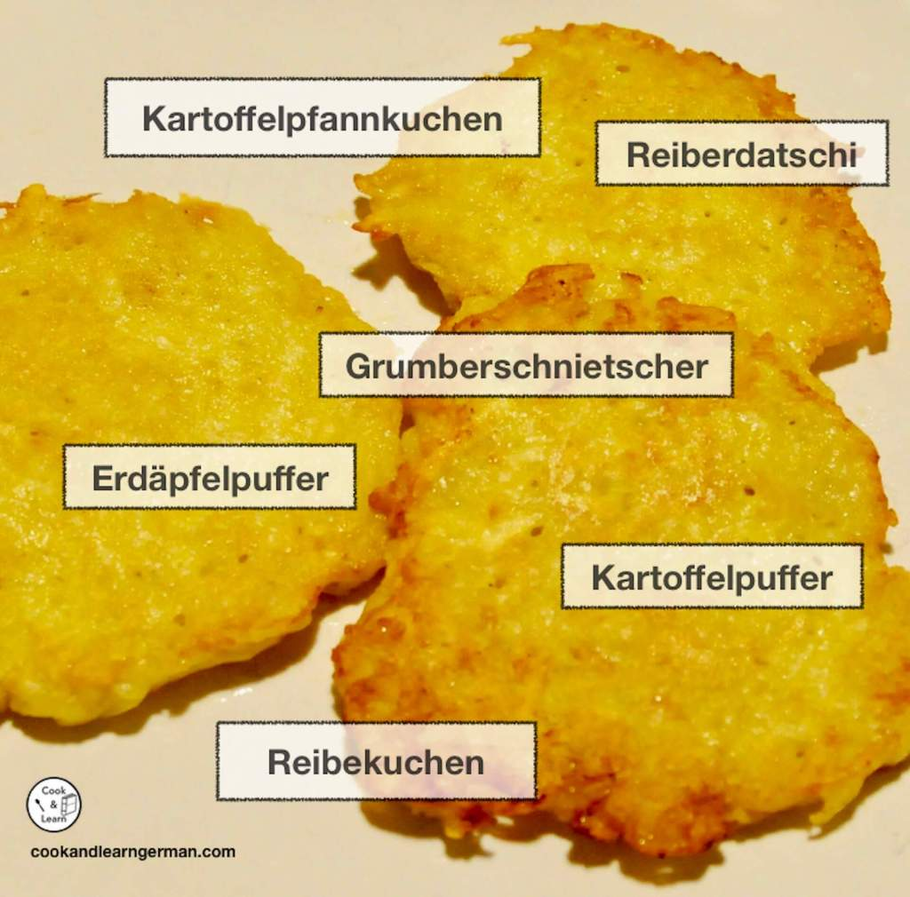 Pic of pancakes and regional German names for them: Kartoffelpfannkuchen, Reiberdatschi, Grumberschnietscher, Erdäpfelpuffer, Kartoffelpuffer, Reibekuchen